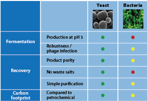 Bio succinic acid, one of two new monomers needed to make bio PBS, can be fermented using either yeast or bacteria. Four companies are developing bio succinic acid, two with yeast and two with bacteria, so competitive claims are flying.           Photo and Figure: Reverdia
