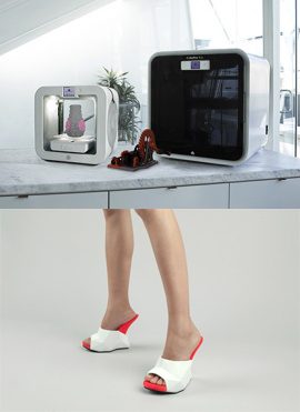 "United Nude shoe stores in New York and London designed their high-fashion ""Float"" shoes to be made to order in 3D Systems' Cube or CubePro printers either in the store or at home. Customers choose their size and color combination, and print the shoes out of ABS."